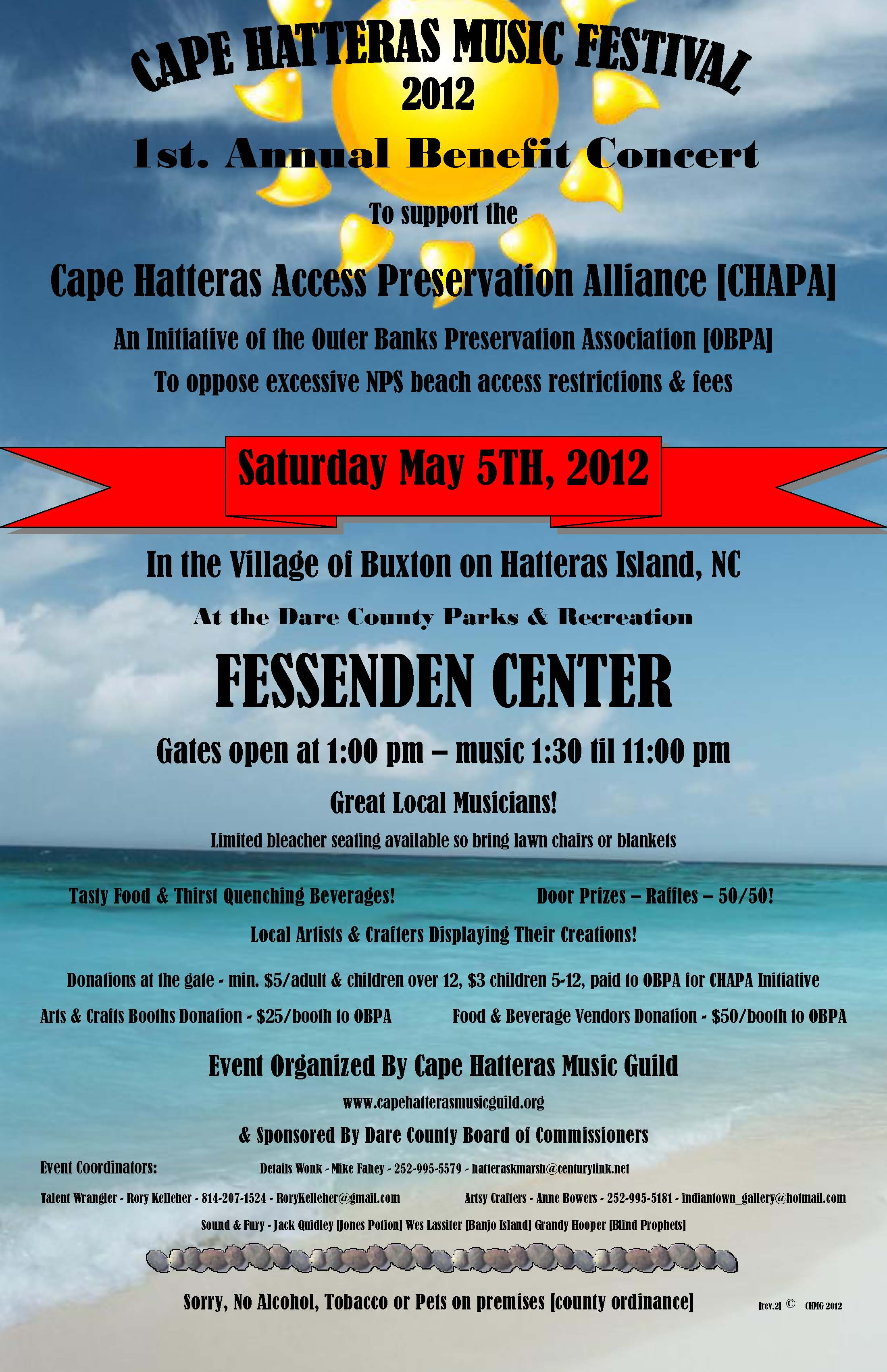 cape hatteras music festival 2012 poster with color graphics locked